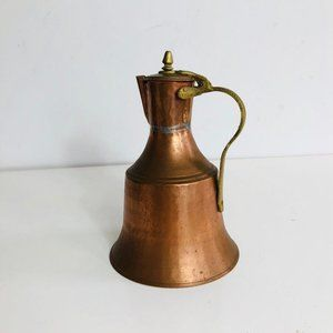 Copper Picher Antique Handle lidded teapot Jug
